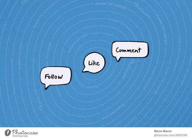 Follow Like Comment | Die drei Formen der Interaktion in sozialen Medien wie Instagram, Facebook etc. Hintergrund neutral Studioaufnahme Farbfoto App Mobile