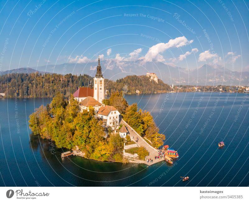 Luftaufnahme der Insel Bled auf dem Bleder See und der Bleder Burg und der Berge im Hintergrund, Slowenien. geblutet Berge u. Gebirge malerisch Wahrzeichen
