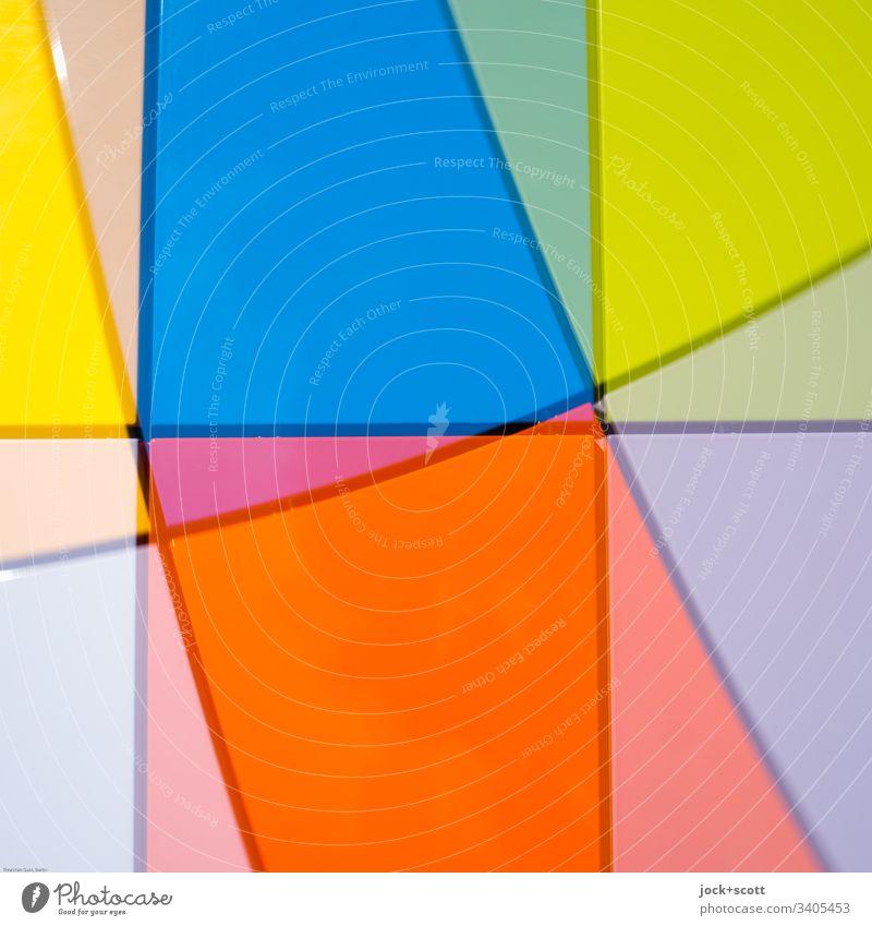 Linien, Farben doppelt gedoppelt Stil Design Strukturen & Formen abstrakt Muster Experiment mehrfarbig Pop-Art Doppelbelichtung Inspiration Irritation