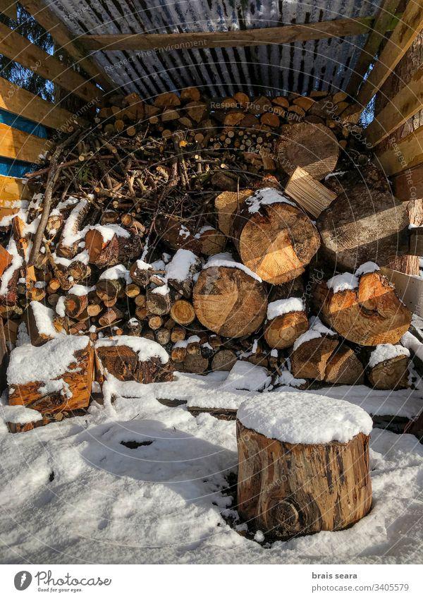 Ein verschneiter Stapel von Baumstämmen. Holz Winter Schnee Schornstein umgebungsbedingt Waldarbeiter Brennholz kalt Feuerstelle Herd Saison Kraft Ofenholz