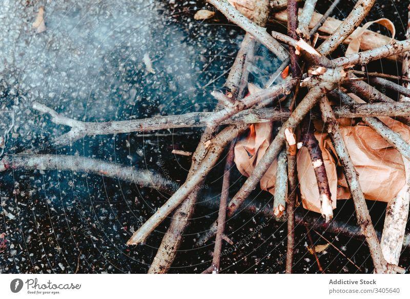 Kleines Lagerfeuer aus Brennholz am Boden Freudenfeuer Rauch aufflackern kleben Ast Natur erwärmen Flamme Brandwunde heiß Energie warm Feuerstelle Dunst