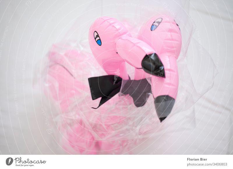 Aufblasbare Flamingos als Braut und Bräutigam mit Schleier und Fliege Hochzeit rosa gleichgeschlechtlich heiraten Geschenk Gummi Plastik aufblasbar Liebe