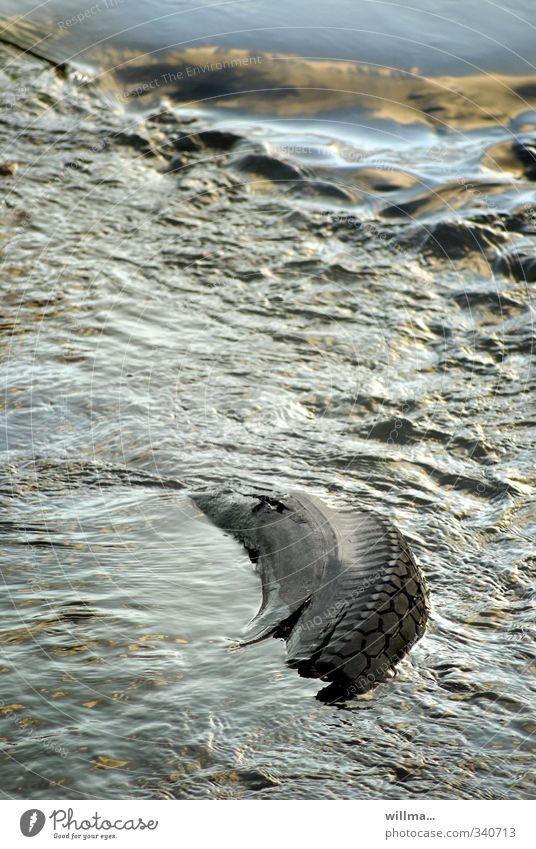 Naturgewalten... Wasser Klima Klimawandel Wetter Unwetter Regen Fluss grau Wassermassen Hochwasser Autoreifen Desaster Farbfoto Außenaufnahme Menschenleer