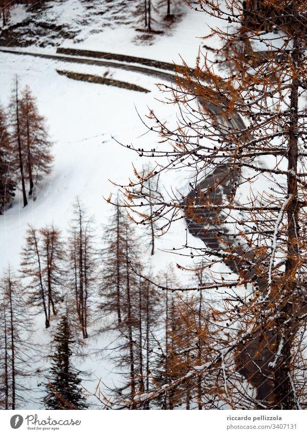 verlassene Bergstraße Berge u. Gebirge Landschaft Menschenleer Wolken Schnee Natur kalt frieren Eis Winter Umwelt Berglandschaft Himmel hoch Tageslicht