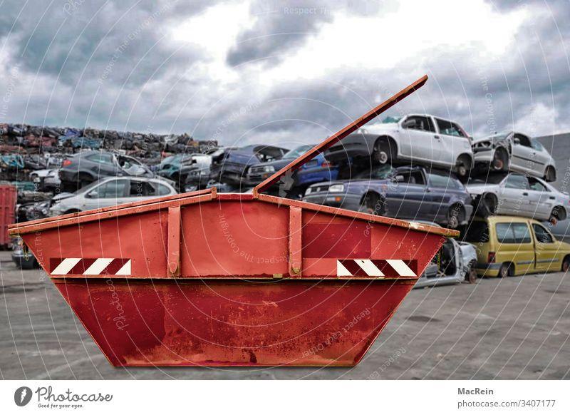 Schrottcontainer schrott schrottplatz autoverwertung altmetall containre entsorgen rohstoffe autofriedhof schrottcontainer recyclinghof