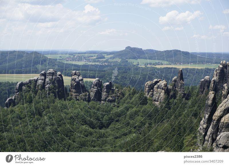 Blick über das Gebiet der Schrammsteine und die Landschaft der Sächsischen Schweiz Klettern Wolken Reise felsig Sandstein Wälder blau Blauer Himmel Klippe