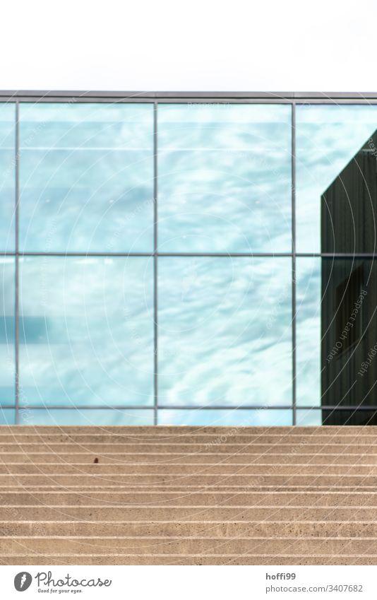 Teilansicht einer reflektierenden Glasfassade mit abstraktem Muster/Struktur Fenster Fassade Stadt außergewöhnlich transparente Fassade Linie Spiegelung urban