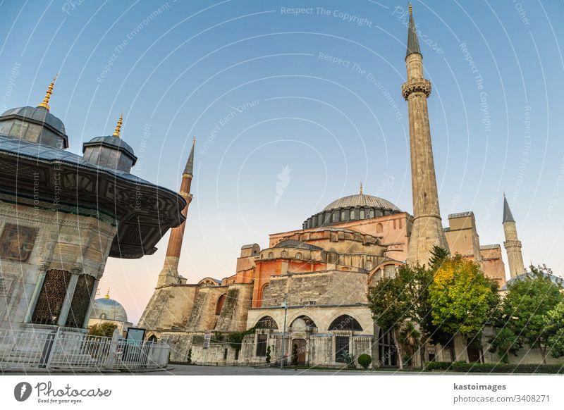 Hagia Sophia-Kuppeln und Minarette in der Altstadt von Istanbul, Türkei, bei Sonnenaufgang. Moschee Truthahn Wahrzeichen Architektur Gebäude Dom Islam Religion