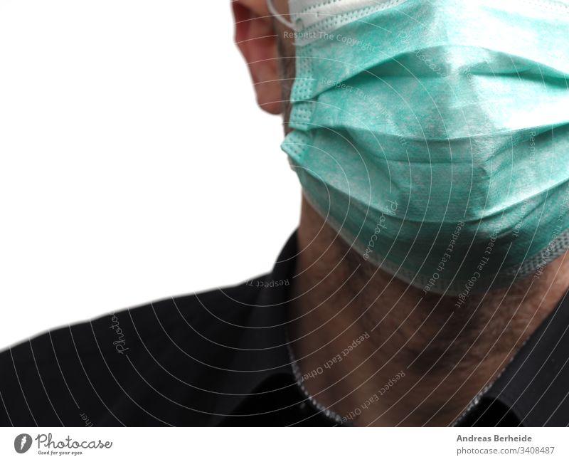 Geschäftsmann mit einem medizinischen Mundschutz klinisch medizinische Maske Personal schützend Sicherheit Prävention Grippe Konzept Gesundheitswesen behüten