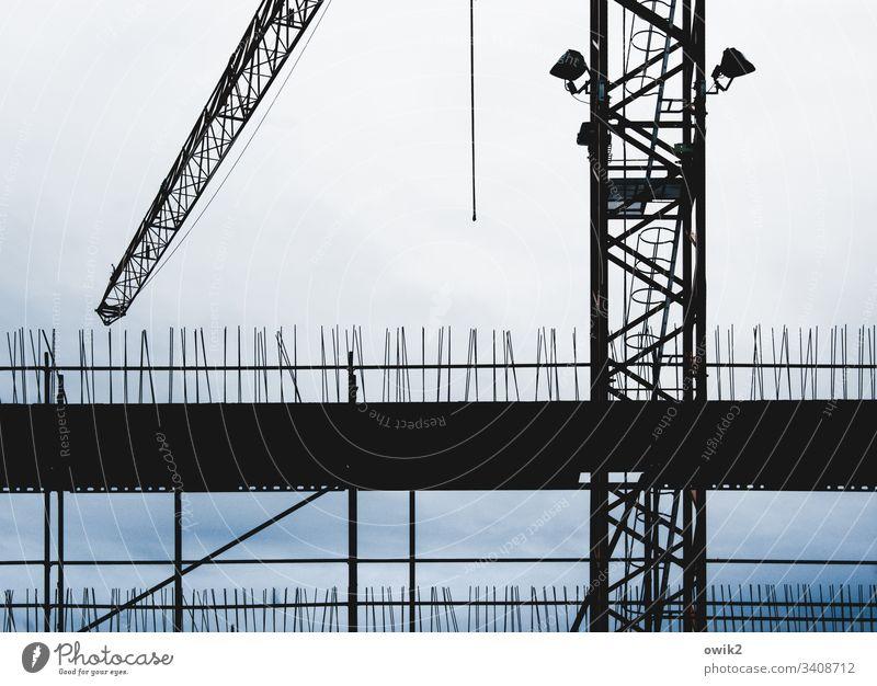 Baulich Baustelle Baukran Silhouette Wolken Detailaufnahme Arbeit Arbeitsplatz aufstrebend oben stachelig Arbeit & Erwerbstätigkeit Kran Außenaufnahme Himmel