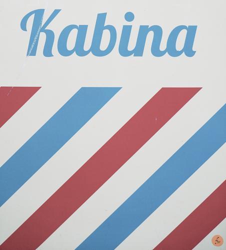 Fotokabine Polen Kabine Kabina Fotos Schriftzug retro Streifen einfach Farbe Osteuropa blau rot weiß Menschenleer Außenaufnahme Linie abstrakt Muster