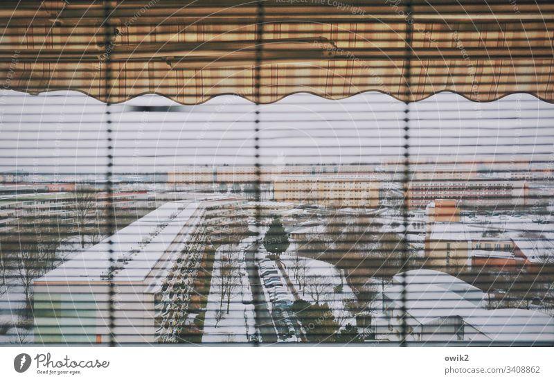 Überblick verschaffen Wohnblöcke Bautzen Plattenbau DDR Wohngebiet Stadtrand Ostdeutschland Fenster Ausblick Lamellen Markise Jalousie Winter Schnee Kälte