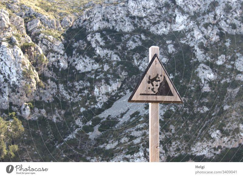 Warnschild Vorsicht Absturzgefahr vor Felsen  im Tramuntana-Gebirge auf Mallorca Achtung Gefahr Hinweisschild Schilder & Markierungen bedrohlich Sicherheit