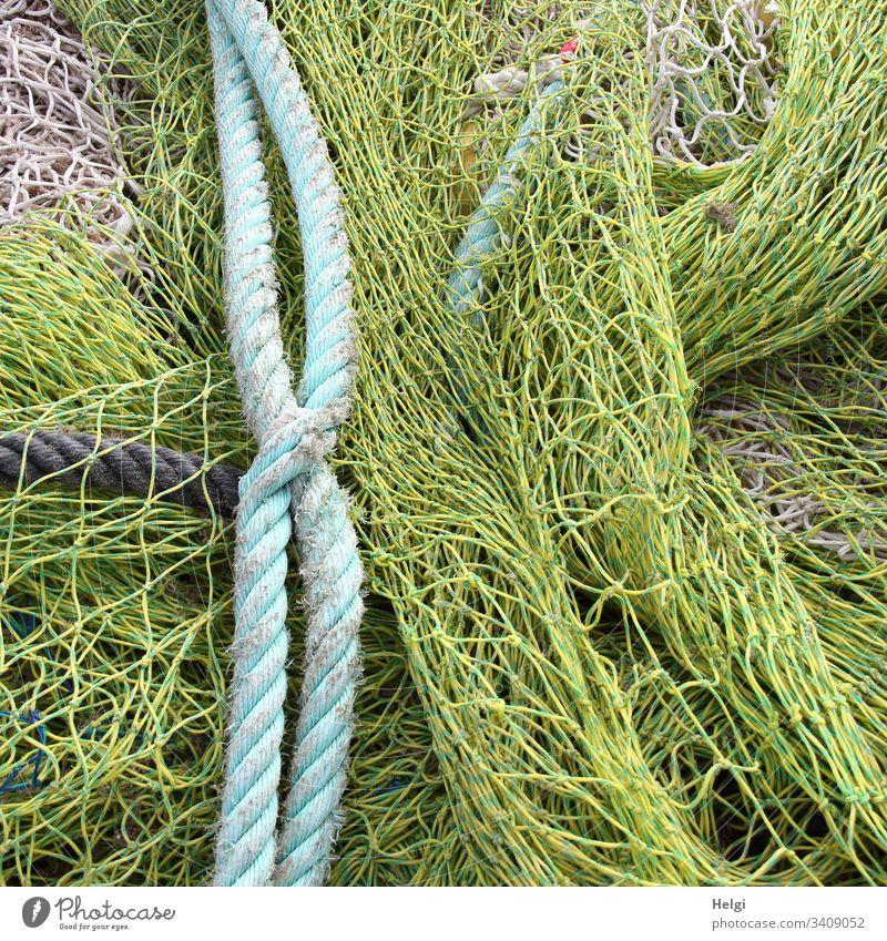 Seilschaft | Fischernetze und Seile im Fischereihafen Fischfang Farbfoto Außenaufnahme Nahaufnahme Netz Netzwerk Fischereiwirtschaft Strukturen & Formen Muster