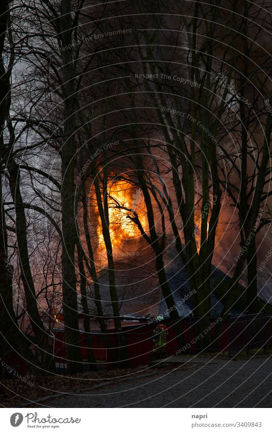 Flammen lodern aus dem Dach eines brennenden Gebäudes. Brand Feuer Haus Feuerwehr Feuerwehrmann Rauch bedrohlich gefährlich Unglück löschen Katastrophe Bäume