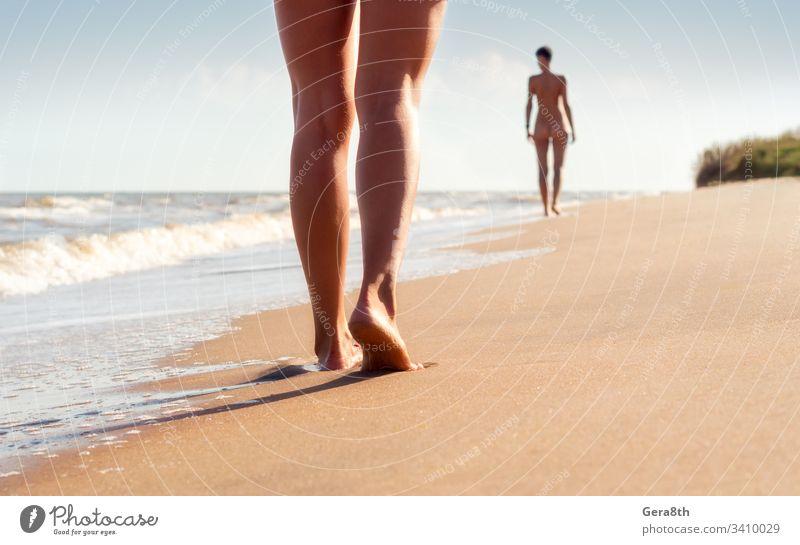 nackte junge Mädchen gehen an einem Sommertag am Strand in den Wellen der Brandung Rücken Körper Körperteil Klima Klamotten aus Paar Tag Fuß Frau Freiheit heiß