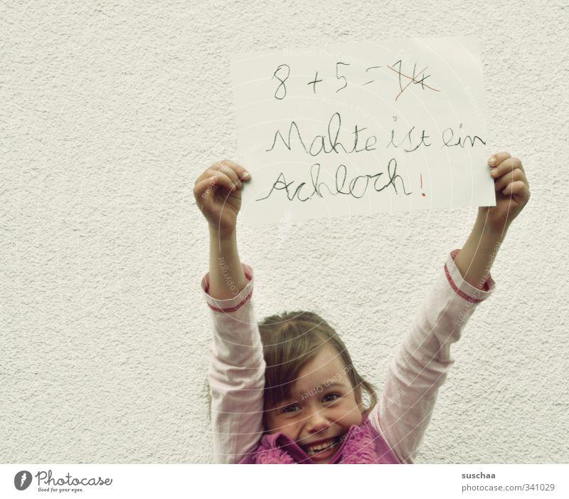 ... und deutsch auch feminin Kind Mädchen Kindheit Gesicht 8-13 Jahre Mauer Wand frech frei Fröhlichkeit frisch lustig wild Frustration Schule schreiben rechnen