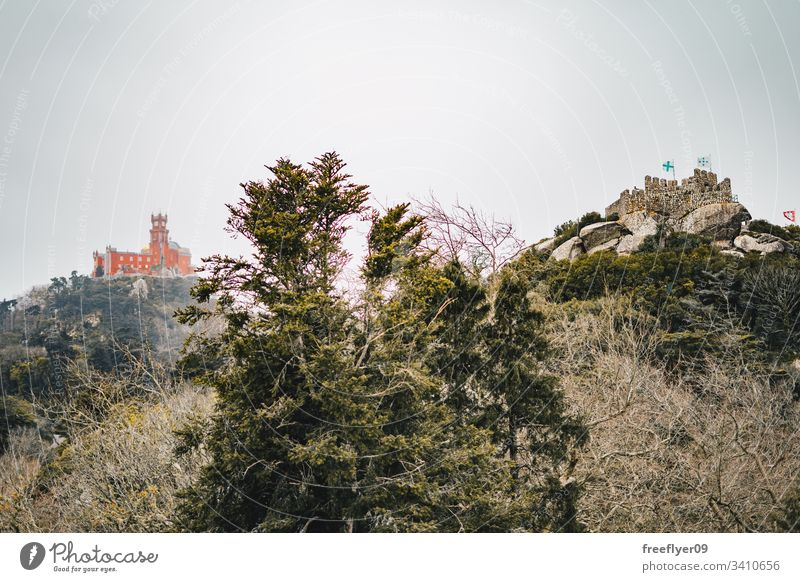 Maurische Burg und Pena-Palast in Sintra, Portugal Landschaft Touristik Kastelo Architektur horizontal Historie historisches Gebäude lisboa mouros Erde