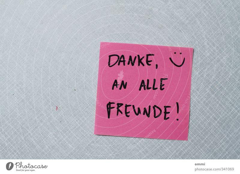 danksagung Freude schwarz grau Glück Freundschaft rosa Zufriedenheit Fröhlichkeit einfach Papier einzigartig Zeichen Freundlichkeit nah positiv Zettel