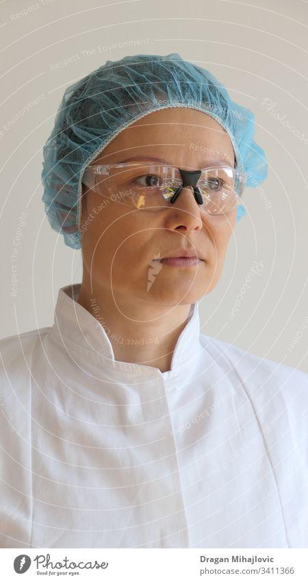 Asiatische Krankenschwester / Arzt-Portrait Erwachsener asiatische Frau Hintergrund schön blau Pflege Kaukasier Chinesisch Klinik Seuche Auge Gesicht Mädchen