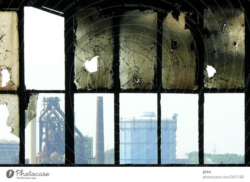 Duisburg von Innen Einsamkeit Ferne Fenster Architektur Arbeit & Erwerbstätigkeit Glas Stadtleben verfallen Netz Schornstein Zerstörung Industrieanlage 12