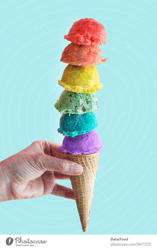 Eiscreme verschiedener Geschmacksrichtungen Ball Schokolade kalt farbenfroh Farben Zapfen Sahne cremig Molkerei Dessert Lebensmittel gefroren Frucht schwul