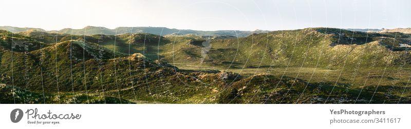Dünen auf dem Sylter Inselpanorama. Mit Moos bewachsene Sanddünen Friesland Deutschland Schleswig-Holstein Dunes Europa grün Hügel Hügelseite Wahrzeichen