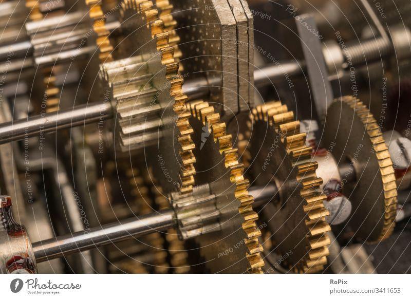 Feinmechanisches Getriebe Zahnrad gearing gearbox Mechanik Technik Maschine machine Struktur Verzahnung cogwheel gearwheel clockwork Übersetzung Werkstatt