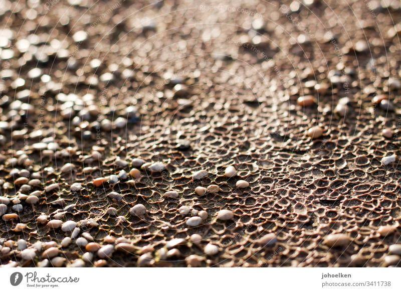 Kieselsteine im Sonnenlicht Wege & Pfade Muster Kulen Steine Textfreiraum oben Außenaufnahme Schotterweg entspannung Leere unperfekt