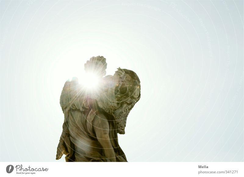 Geblendet Sightseeing Städtereise Kunst Kunstwerk Skulptur Rom Italien Europa Hauptstadt Sehenswürdigkeit Denkmal Stein Engel Strahlung strahlend strahlenförmig