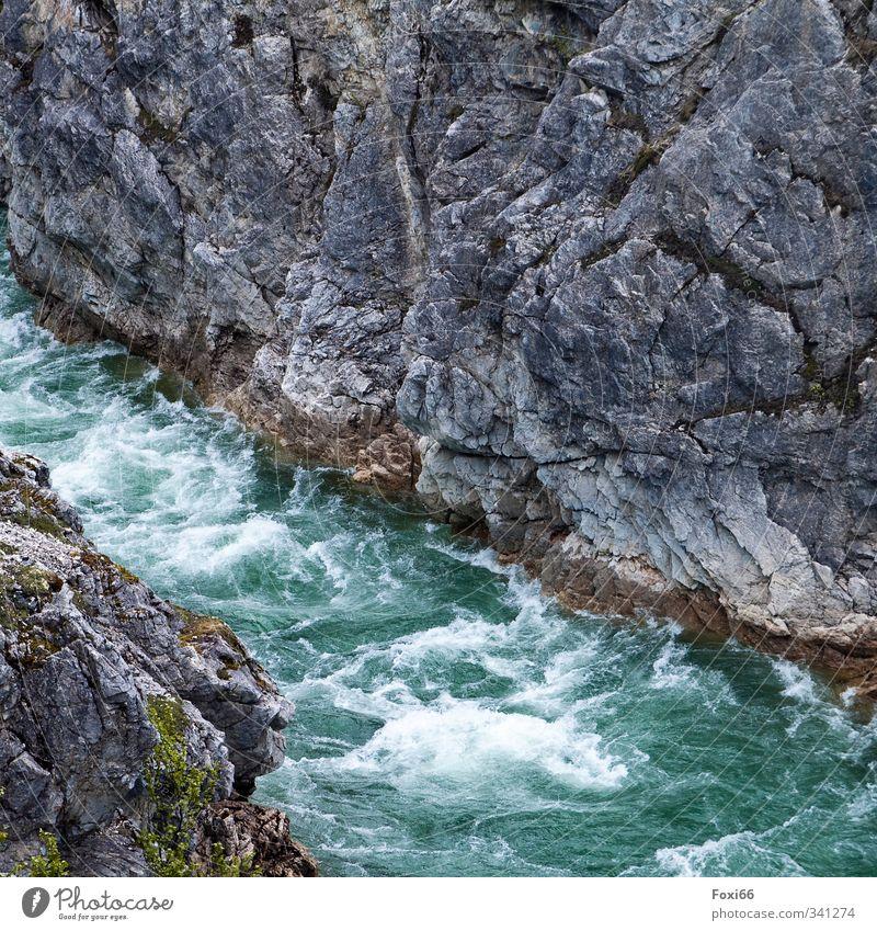 Wildwasser Natur blau grün Wasser Sommer kalt Berge u. Gebirge grau Stein natürlich Luft Kraft frisch bedrohlich Urelemente Macht