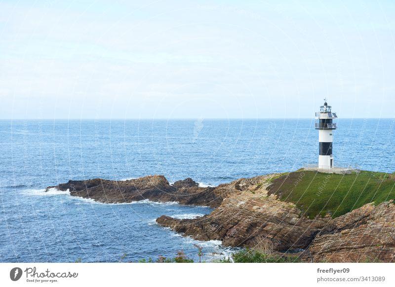 Leuchtturm Illa Pancha in Ribadeo, Galicien MEER Lugo Galicia Felsen Natur Küste Landschaft Historie Klippe Wasser europa historisch winken blau natürlich