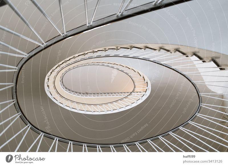 ovale Wendeltreppe aus den 50ern Hoffi99 Architektur Treppe Treppenhaus Geländer Spirale Abstraktes Muster Schwindelgefühl Kurve aufwärts