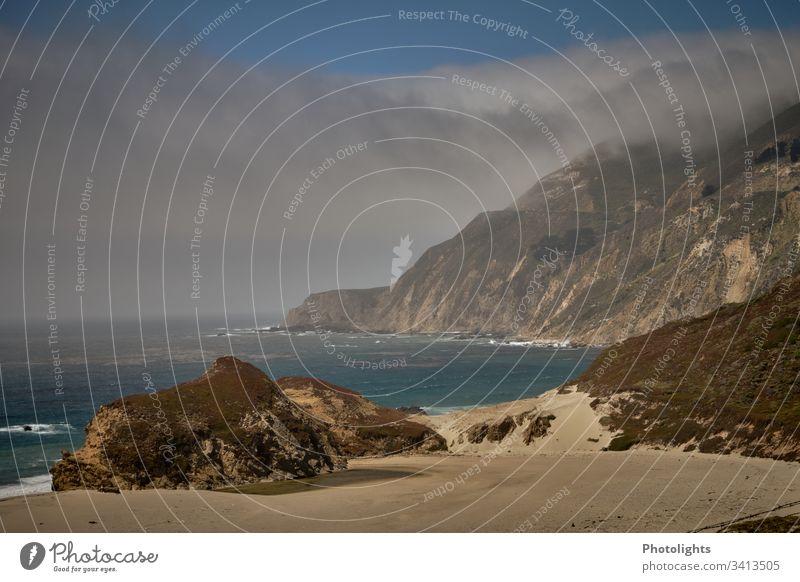 Highway 1 Route - Kalifornien Highway One Pazifik Ferien & Urlaub & Reisen USA Küste Meer Farbfoto Landschaft Felsen Außenaufnahme Straße Strand Natur Himmel