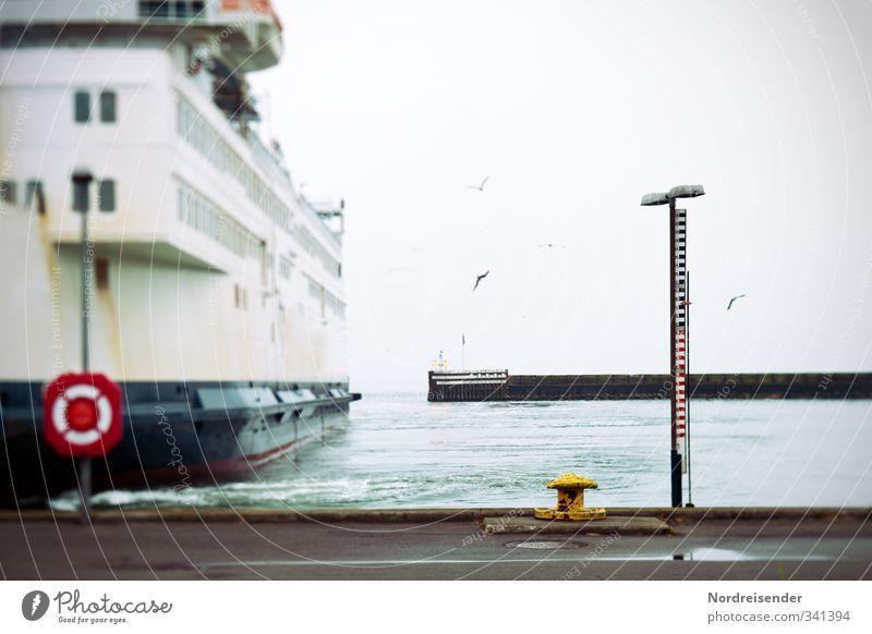 Tilt - Schiff (t) Ferien & Urlaub & Reisen Sommer Meer ruhig Ferne Straße Freiheit Küste Stimmung Nebel warten Niveau Hafen Sommerurlaub Schifffahrt Möwe