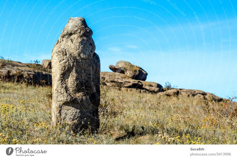 altes steinernes Idol auf einem Feld inmitten von Steinen antik Gras historisch Historie Denkmal Natur heidnisches Idol Heidentum Himmel Statue Tradition