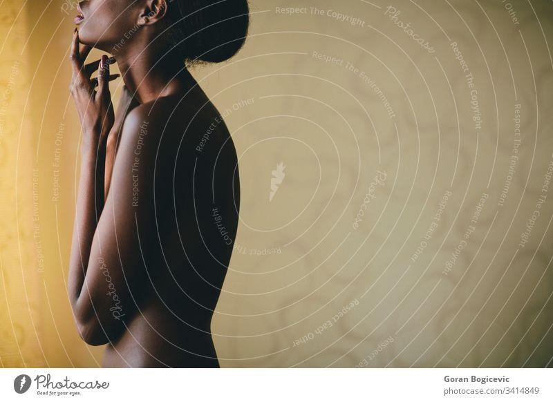 Junge afrikanische Frau nackt hübsch Afrikanisch schön Schönheit jung schwarz Haut Gesicht natürlich niedlich ethnisch bezaubernd Erwachsener wünschenswert