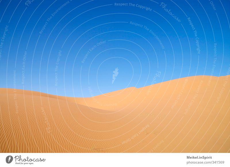 Düne Umwelt Landschaft Sand Klima Klimawandel Schönes Wetter Wärme Dürre Wüste Sahara Erg Chebbi Unendlichkeit heiß trocken blau braun gelb Warmherzigkeit ruhig