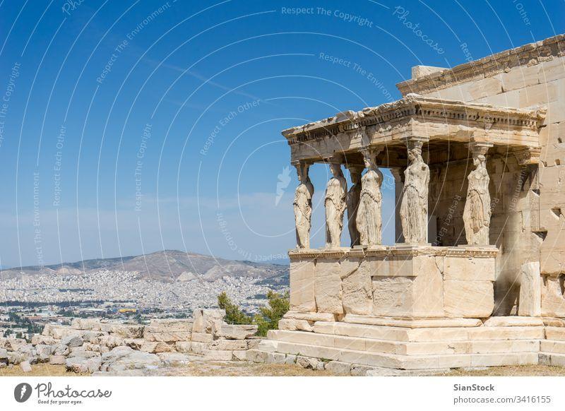 Karyatiden, Erechtheion-Tempel Akropolis in Athen, Griechenland antik Gebäude Parthenon berühmt Architektur Wahrzeichen Klassik Tourismus Zivilisation Europa