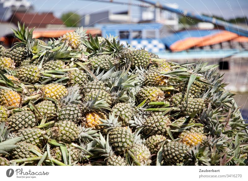 Ein Stapel Ananas auf einem schwimmenden Markt im Mekong-Delta Obst Vietnam grün Lebensmittel Frucht Obst- oder Gemüsestand frisch lecker