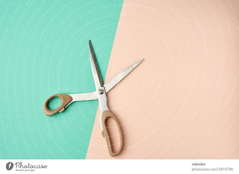 Metallschere mit Kunststoffgriff auf grün-beigem Hintergrund offen Schere Form stechend glänzend Single Stahl Werkzeug Schneider Nahaufnahme professionell