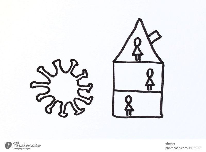 Zeichnung Coronavirus und Haus mit Personen (stilisiert) Covid-19 Gefahr Infektion Schutz schützen Quarantäne aktuell Virus Ansteckungsgefahr Kontakt