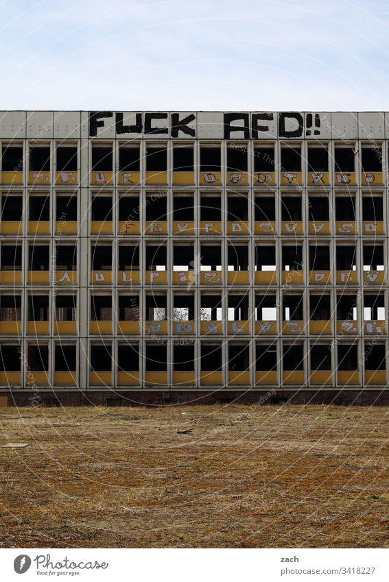 Ruine eines Hochhauses in berlin mit Schriftzug Fuck AFD, Graffitti Berlin AfD Politik & Staat Deutscher Bundestag Deutschland Menschenleer Hauptstadt extrem