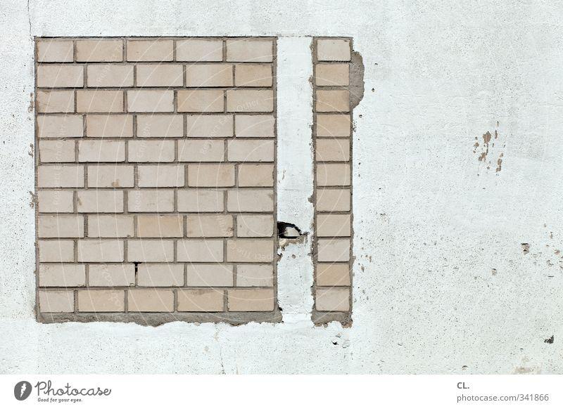 verbaut Haus Fenster Wand Architektur Mauer grau Stein Fassade geschlossen Häusliches Leben Beton trist Baustelle Neugier Platzangst Grenze