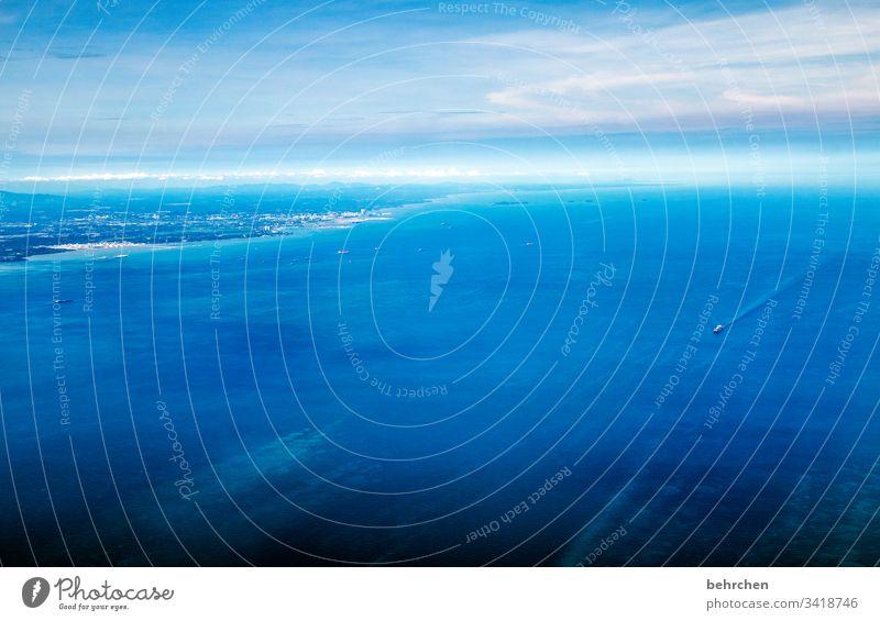 einfach mal blau machen atmen Luft fliegen Kuala Lumpur von oben Hafenstadt Küste Hoffnung träumen wunderschön Containerschiff Schiff Wasser Meer Licht