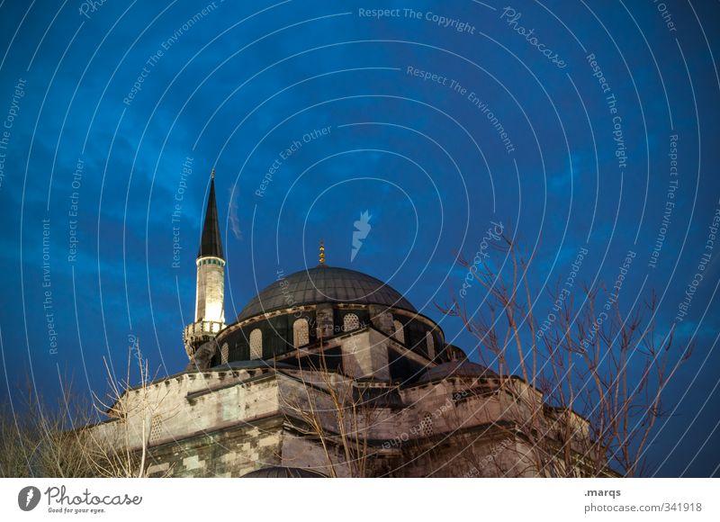 Minarett Ferien & Urlaub & Reisen Tourismus Kultur historisch Himmel Wolken Nachthimmel Istanbul Türkei Bauwerk Gebäude Architektur Moschee Zeichen leuchten