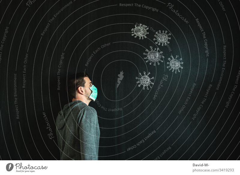 Coronavirus-Mann mit Atemmaske Atemschutzmaske Virus Mundschutz Infektion Infektionsgefahr jemanden/etwas bewachen Angst Seuche Pandemie Krankheit Zeichnung