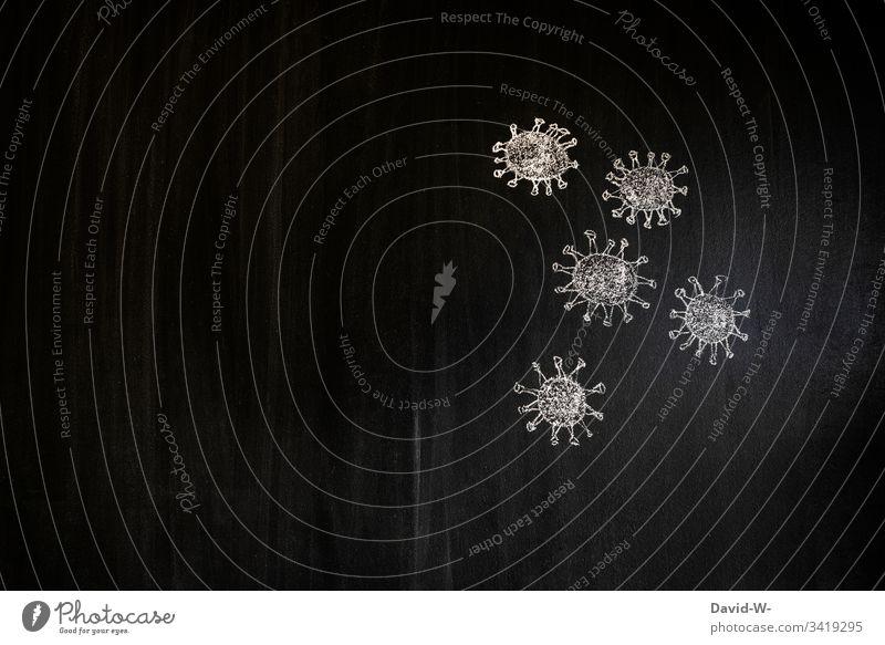 Coronavirus Viren Virus Zeichnung Atemschutzmaske Mundschutz Schützen Infektion Gesundheit Infektionsgefahr Ansteckend Angst Seuche Pandemie Krankheit covid-19