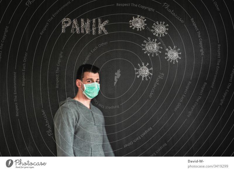 Corona - ist ein Ende in Sicht? coronavirus Mann Atemschutzmaske Gesundheit Pandemie Mundschutz Maske Krankheit Virus Angst Grippe Corona-Virus Infektionsgefahr