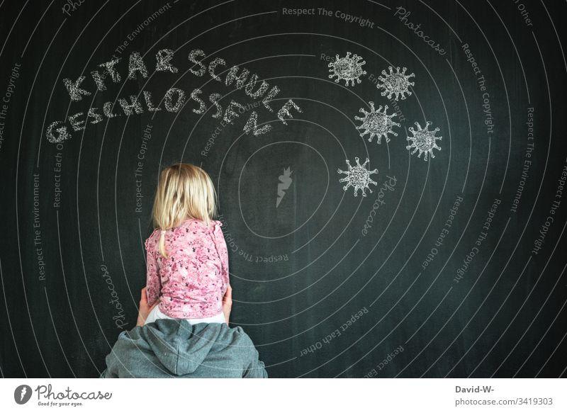 Coronavirus Vater mit Kind Kita und Schule geschlossen Mann kita Virus Mundschutz alleinerziehend Infektion Infektionsgefahr Angst Seuche Krankheit Zeichnung